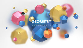 Abstract poligonal background. 3d render illustration. Geometric background with low-poly elements. Abstract poligonal background. Geometric background with low Stock Photography