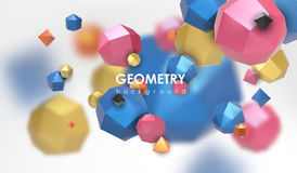 Abstract poligonal background. 3d render illustration. Geometric background with low-poly elements. Abstract poligonal background. Geometric background with low Royalty Free Stock Images