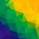 Abstract polygon background. Brazil flag colors. Stock Photo