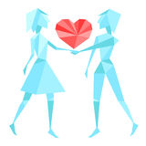 Abstract polygon couple holding hands Royalty Free Stock Images