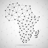 Abstract polygonal Africa map with dots and lines, network connections. Abstract polygonal Africa map with  dots and lines, network connections, vector Stock Photos