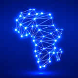 Abstract polygonal Africa map. With glowing dots and lines, network connections. Vector illustration. Eps 10 Royalty Free Stock Image