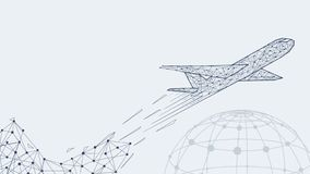 Abstract polygonal airliner with Earth symbol poster. Wireframe structure low poly mesh shape on gray background vector illustration. Hided potential royalty free illustration