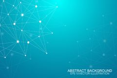 Abstract polygonal background with connected lines and dots. Minimalistic geometric pattern. Molecule structure and. Communication. Graphic plexus background Royalty Free Stock Images