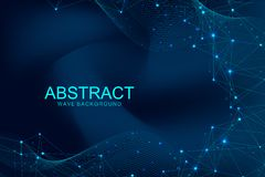 Abstract polygonal background with connected lines and dots. Wave flow. Molecule structure and communication. Graphic