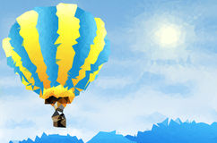 Abstract polygonal background - flying hot-air balloon. And blue sky with sun. Vector illustration Stock Photo