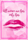 Abstract polygonal background with pink lips Royalty Free Stock Photography