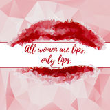 Abstract polygonal background with red lips Stock Images
