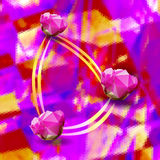 Abstract polygonal background with stylized pink flowers. Gold, pink and purple triangular background with three roses of polygons Stock Photos