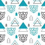 Abstract polygonal bear, mountain and forest seamless pattern background. vector illustration