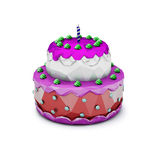 Abstract Polygonal Birthday Cake with Candle. Illustration Royalty Free Stock Images