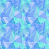 Abstract polygonal blue triangular seamless vector pattern background. Royalty Free Stock Photos