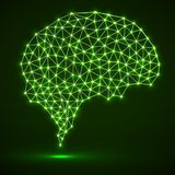 Abstract polygonal brain with glowing dots and lines. Network connections stock illustration