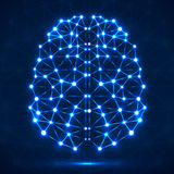 Abstract polygonal brain with glowing dots and lines Stock Image