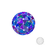 Abstract polygonal broken sphere. 3d Vector colorful illustratio Royalty Free Stock Photo