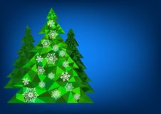 Abstract polygonal Christmas tree with snowflakes on a blue background.  Stock Photo