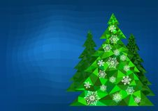 Abstract polygonal Christmas tree with snowflakes on a blue background.  Royalty Free Stock Image