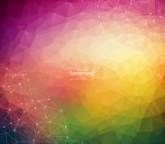 Abstract polygonal colorful background with connected dots and lines, connection structure, futuristic hud background. Vector illustration royalty free illustration