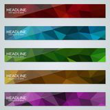 Abstract polygonal colorful web banners vector templates. Abstract polygonal colorful web banners vector design collection stock illustration