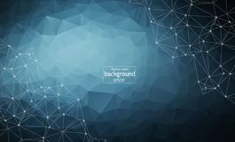 Abstract polygonal Dark Blue background with connected dots and lines, connection structure, futuristic hud background, royalty free illustration