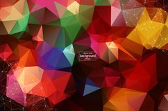 Abstract polygonal Dark red low poly background with connecting dots and lines. Connection structure. Vector science background. Polygonal vector background vector illustration