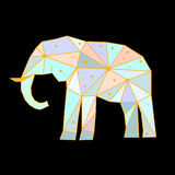 Abstract polygonal elephant. On black background. Side view. Futuristic cover painted in imaginary colors Royalty Free Stock Photography