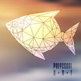 Abstract polygonal fish. Low poly illustration. Creative poster Stock Photos