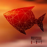 Abstract polygonal fish. Low poly illustration. Creative poster Royalty Free Stock Photography