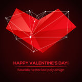 Abstract polygonal futuristic design. Valentines Day. Royalty Free Stock Image