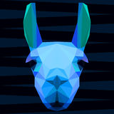 Abstract polygonal geometric bright glaring blue colored llama portrait for use in design Royalty Free Stock Photos