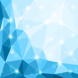 Abstract polygonal geometric shiny blue background wallpaper illustration Royalty Free Stock Image
