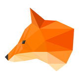 Abstract polygonal geometric triangle bright ginger fox head isolated on white background for use in design Stock Photos