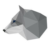Abstract polygonal geometric triangle wolf head isolated on white background for use in design. For card, invitation, poster, banner, placard or billboard cover Royalty Free Stock Photography