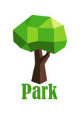 Abstract polygonal green tree icon Stock Images