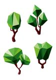 Abstract polygonal green trees icons Royalty Free Stock Photos
