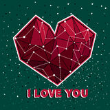 Abstract polygonal heart. On the dark background. Background for valentine's card, love poster and wedding, greeting, invitation cards, low poly banners Royalty Free Stock Photography
