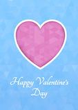 Abstract polygonal heart. Pink origami heart on blue background cut. Vector Illustration. Romantic background for Valentines day. Stock Photos