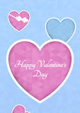 Abstract polygonal heart. Pink origami heart on blue background cut. Vector Illustration. Romantic background for Valentines day. Stock Photo