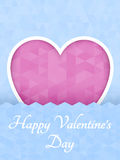 Abstract polygonal heart. Red origami heart on pink background cut. Vector Illustration. Romantic background for Valentines day. Stock Photography
