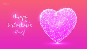 Abstract polygonal heart. Valentine`s day. Low poly heart from lines and points in colorful style. Happy valentines day. Love. Symbol. Romantic design for vector illustration