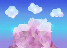 Abstract polygonal house with clouds and backgroun Stock Photos