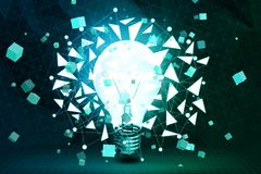 Idea and innovation concept. Abstract polygonal lamp background. Idea and innovation concept. 3D Rendering Stock Photography