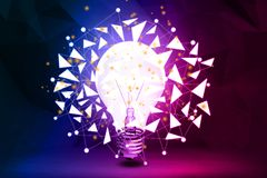 Innovation concept. Abstract polygonal lamp background. Innovation concept. 3D Rendering Royalty Free Stock Images