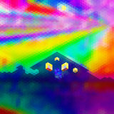 Abstract polygonal landscape with house and aurora. Dramatic sky with spectral rays and house with glowing windows stock illustration