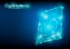 Abstract polygonal light design of hard drive. Blue lines structure style vector illustration. stock photography