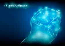Abstract polygonal light design of hard drive in hand. Blue lines structure style vector illustration. royalty free stock photography