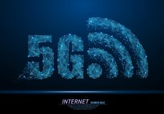 5G WiFi sign. Abstract polygonal light of 5G WiFi sign. Business wireframe mesh spheres from flying debris. 5th generation wireless internet network connection royalty free illustration