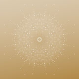 Abstract polygonal low poly backdrop with connecting dots and lines, mandala on golden background, connection structure Stock Photography