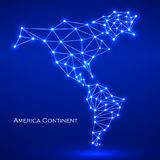 Abstract polygonal map America continent. Abstract polygonal  map America continent with glowing dots and lines, network connections. Vector illustration. Eps 10 Stock Images