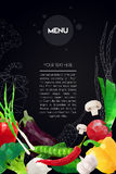 Abstract polygonal Menu template. Geometric triangle design. Colorful vector vegetables illustration Stock Photo
